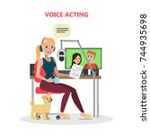 voice acting woman with mic and ... | Shutterstock .eps vector #744935698