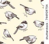 birds seamless pattern vector... | Shutterstock .eps vector #744939754