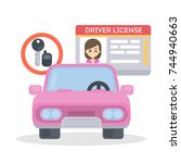 woman's driver license. id card ... | Shutterstock .eps vector #744940663