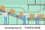 people at factory working at... | Shutterstock .eps vector #744941008