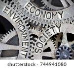 macro photo of tooth wheel... | Shutterstock . vector #744941080