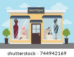 boutique clothing store... | Shutterstock .eps vector #744942169