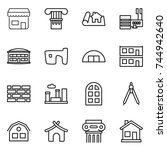 thin line icon set   shop ... | Shutterstock .eps vector #744942640