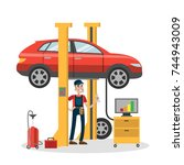 mechanic repairing car in the... | Shutterstock .eps vector #744943009