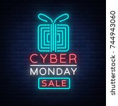 cyber monday concept banner in... | Shutterstock .eps vector #744943060