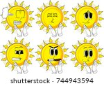 cartoon sun with clapping hands.... | Shutterstock .eps vector #744943594