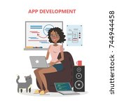 female app developer. smiling... | Shutterstock .eps vector #744944458