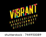 vector of stylized vibrant font ... | Shutterstock .eps vector #744950089