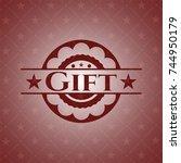 gift red emblem   Shutterstock .eps vector #744950179