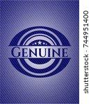genuine emblem with denim... | Shutterstock .eps vector #744951400