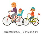 mother together with children... | Shutterstock .eps vector #744951514