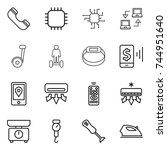 thin line icon set   phone ... | Shutterstock .eps vector #744951640