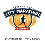 modern urban marathon badge... | Shutterstock .eps vector #744952408
