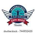 modern urban marathon badge...   Shutterstock .eps vector #744952420