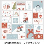 christmas advent calendar  cute ... | Shutterstock .eps vector #744953470