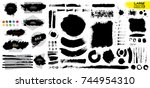 big collection of black paint ... | Shutterstock .eps vector #744954310