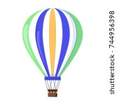 hot air balloon icon. cartoon... | Shutterstock .eps vector #744956398