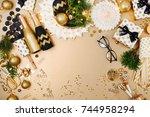christmas decoration background ... | Shutterstock . vector #744958294
