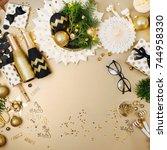 christmas decoration background ... | Shutterstock . vector #744958330