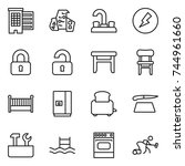thin line icon set   houses ... | Shutterstock .eps vector #744961660