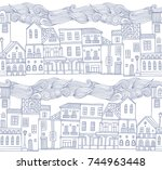 seamless vector pattern with... | Shutterstock .eps vector #744963448