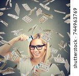 happy debt free woman holding a ... | Shutterstock . vector #744963769