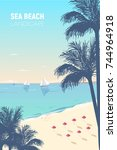 gorgeous seascape with palm... | Shutterstock .eps vector #744964918
