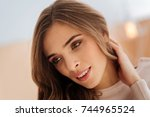 portrait of beautiful young lady | Shutterstock . vector #744965524