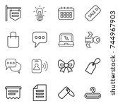 thin line icon set   shop... | Shutterstock .eps vector #744967903