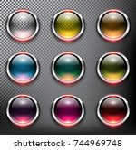 abstract metallic web buttons... | Shutterstock .eps vector #744969748