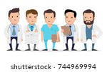 doctor  medical worker ... | Shutterstock .eps vector #744969994