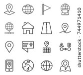 thin line icon set   pointer ... | Shutterstock .eps vector #744971410