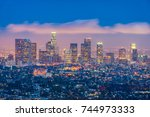 skyline of los angeles ... | Shutterstock . vector #744973333