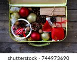 suitcase christmas decorations... | Shutterstock . vector #744973690
