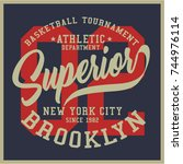 vintage varsity graphics and... | Shutterstock .eps vector #744976114