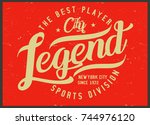 vintage varsity graphics and... | Shutterstock .eps vector #744976120