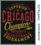 vintage varsity graphics and... | Shutterstock .eps vector #744976150