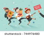 cheers  businessmen crowd going ... | Shutterstock .eps vector #744976480