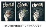 male hand holding glass brandy  ...   Shutterstock .eps vector #744977794