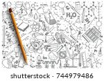 hand drawn chemistry vector... | Shutterstock .eps vector #744979486