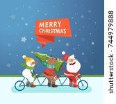 merry christmas cute postcard.... | Shutterstock .eps vector #744979888