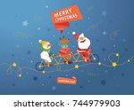 merry christmas cute postcard.... | Shutterstock .eps vector #744979903