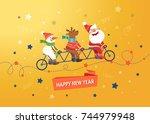 merry christmas cute postcard.... | Shutterstock .eps vector #744979948