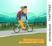 young traveler riding a bicycle ... | Shutterstock .eps vector #744979960