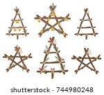 vector handmade christmas... | Shutterstock .eps vector #744980248