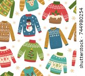 cute seamless pattern with ugly ... | Shutterstock .eps vector #744980254