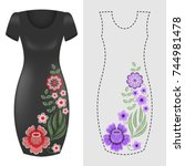 fashion dresses template with... | Shutterstock .eps vector #744981478