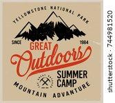 vintage vector of wilderness... | Shutterstock .eps vector #744981520