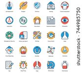 set of science icons   | Shutterstock .eps vector #744985750