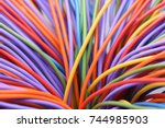 colorful wires and cables... | Shutterstock . vector #744985903